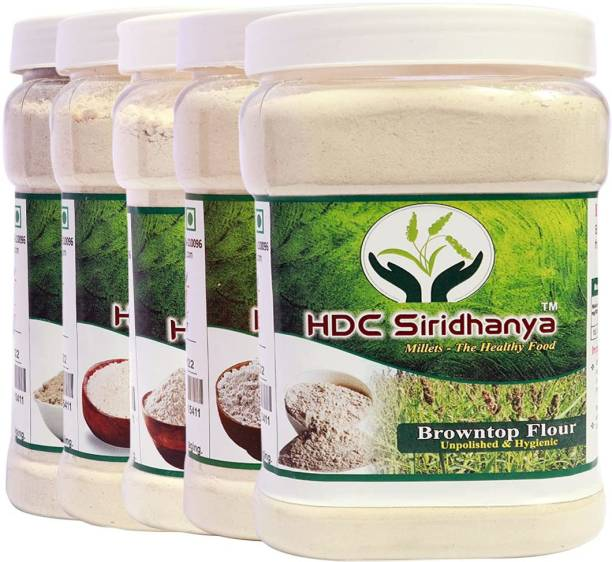 HDC SIRIDHANYA (Unpolished & organic) Natural Flour Combo Pack of 5 | Foxtail 1kg , Kodo,1kg, Barnyard 1kg, Little 1kg, Browntop 1kg Nutrient Powerhouse, High Protein & 100% more Fibre than Wheat Flour .