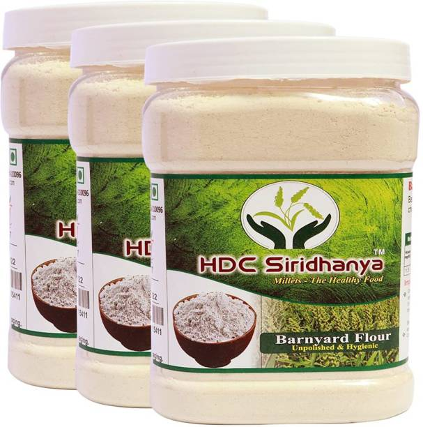 HDC SIRIDHANYA (Unpolished & Organic) Natural Grains Barnyad flour combo Pack (1kg Per Pack) Pack of (3 Kg)