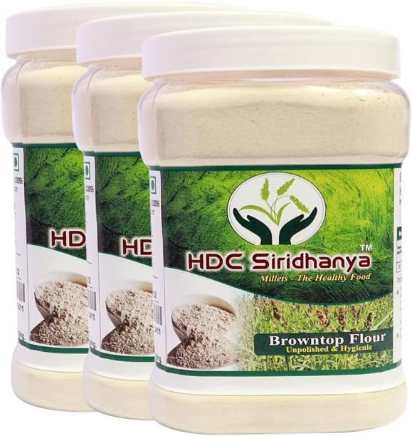 HDC SIRIDHANYA (Unpolished & Organic) Natural Grains Browntop Flour Combo Pack (1kg per Pack) Pack of (3)