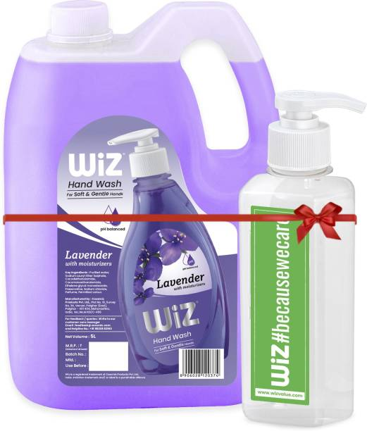 Wiz pH-Balance Hand Care Lavender Liquid Handwash Refill Can -5 L with Empty Refillable Dispenser Bottle. Hand Wash Can