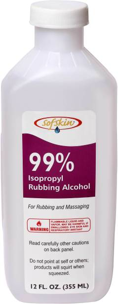 Sofskin Rubbing Alcohol (Sanitizer) USA Brand 99% Pure & Safe Iso Propyl Alcohol - 355 ml Combo with 30 ml Spray Bottle Hand Sanitizer Bottle