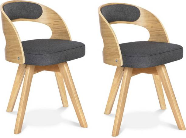 Urbancart Mid Century Modern Chair with Wood Finished Legs for Home, Office, Cafeteria, Restaurant, Bar(Biege) - Set of 2 Solid Wood Living Room Chair
