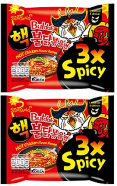 Samyang 3X Spicy Hot Chicken Flavour Instant Korean Noodles - 140gm*2Pack (Pack of 2) (Imported) Combo Instant Noodles Non-vegetarian