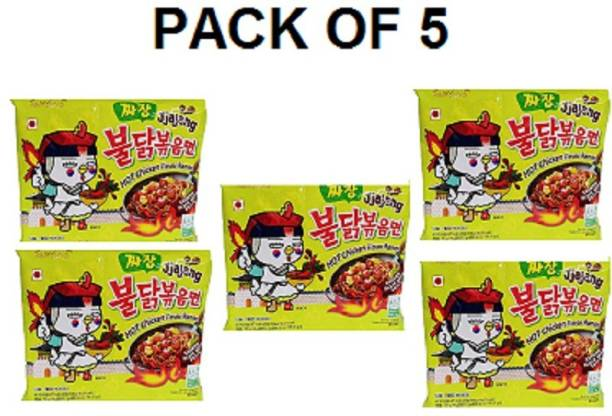 Samyang Hot Chicken Ramen Noodles Jjajang-140 X5 (Pack of 5) (Imported) Instant Noodles Non-vegetarian