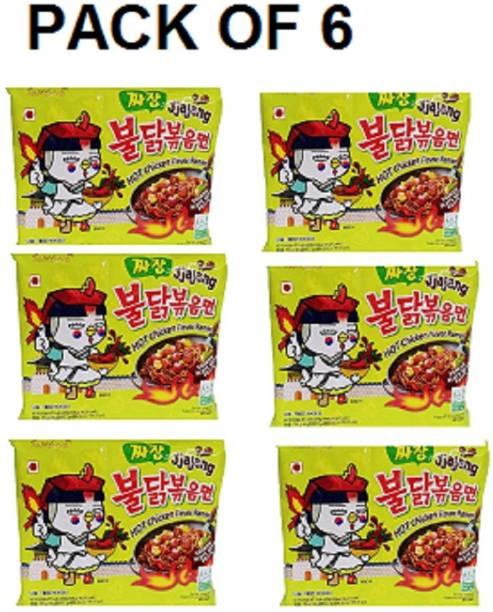 Samyang Hot Chicken Ramen Noodles Jjajang-140 X6 (Pack of 6) (Imported) Instant Noodles Non-vegetarian