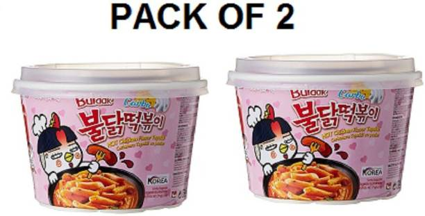 Samyang Hot Chicken- Carbo Flavour , Rice Cakes (2X179 gm ) (Imported) (Combo) (Imported) (Pack of 2) Rice Noodles Non-vegetarian