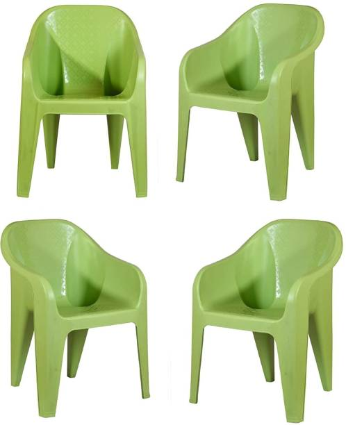 MAHARAJA Sigma Plastic Chair Set of 4 with Matt & Glossy Texture for Home, Office and Restaurant (Green) Plastic Cafeteria Chair