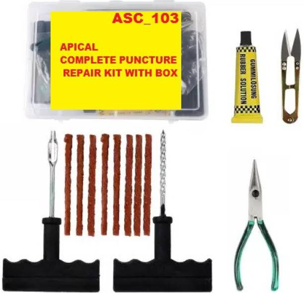 APICAL Tubeless Tire Puncture Repair Kit 6 in 1 Portable Flat Tyre Puncture Repair Box for Cars, Trucks, Motorcycles and SUVs Tubeless Tyre Puncture Repair Kit Tubeless Tyre Puncture Repair Kit