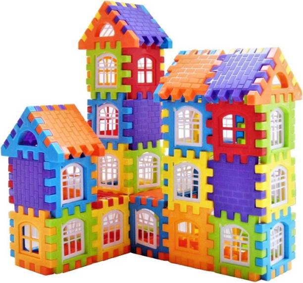GREEN WAY Educational My Happy Hous.e Home Building Blocks, Learning Toy, 50 Pcs Blocks Set Educational Toy for Kids