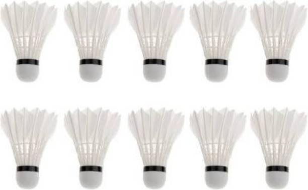 Writzo High Speed Shuttlecock Set for Indoor & Outdoor Games Feather White( Pack Of 10) Plastic Shuttle  - White
