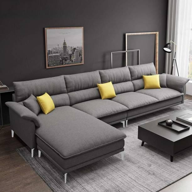 Woodcasa Fressia LHS L Shape Fabric 5 Seater  Sofa