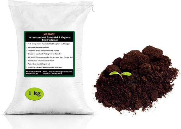 MASHKI 1 Kg of 100% Pure natural ORGANIC VERMICOMPOST Soil Manure EARTHWORM VERMICOMPOST Soil Manure 1 kg Powder Fertilizer