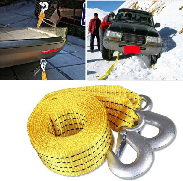 Znee Smart ZS-4T3 Premium Heavy Duty 4M Long Tow Belt || Super Strong Emergency Heavy Duty || Car Tow Cable || 3 Ton Towing Strap Rope || with Dual Heavy Duty Forged Hooks || Yellow Color || 4 m Towing Cable