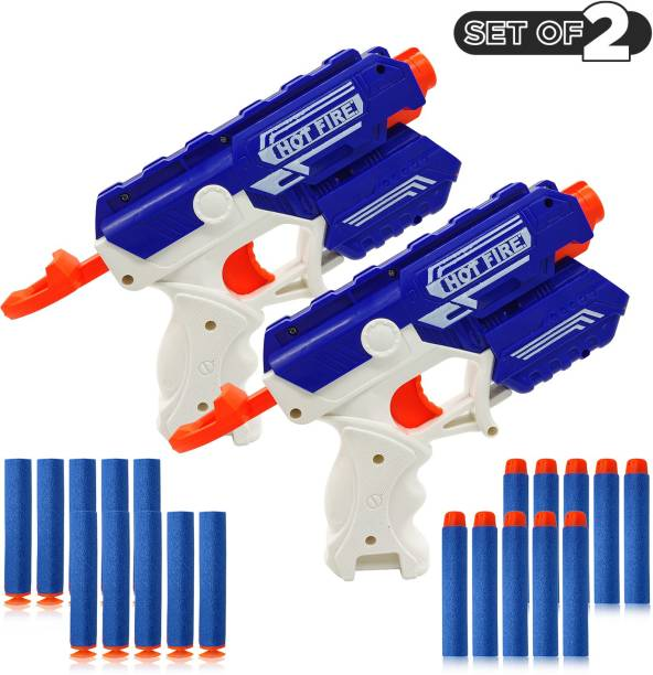 Miss & Chief Foam Blaster Gun Toy, Safe And Long Range Shooting Gun, (Setof2 With 10 foam bullets and 10 suction dart bullets) Guns & Darts