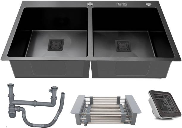 """RESPITE BLACK FINISH 45"""" X 20"""" X 10"""" DOUBLE BOWL WITH TAP HOLE HANDMADE KITCHEN SINK HM-509 Vessel Sink"""