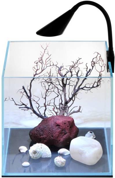 Petzlifeworld Ultra Crystal Clear Mini Fish Tank for Betta/Guppy and Small Fish Cube Aquarium Tank