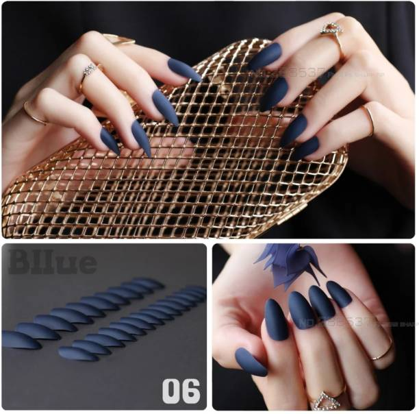 business venture 24 PC/Set Designer MATTE BLUE Reusable Artificial Nail with Glue. blue, dark blue