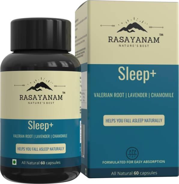 Rasayanam Sleep+ | Valerian Root, Lavender, Chamomile | Helps calm & sleep naturally | Non habit forming