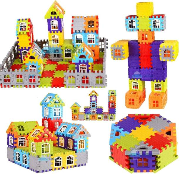 TechHark DIY Mega Jumbo Big Size Multi Colored 96+ Pcs Happy Home House Building Blocks with Attractive Windows and Smooth Rounded Edges - Building Blocks for Kids - Blocks Game