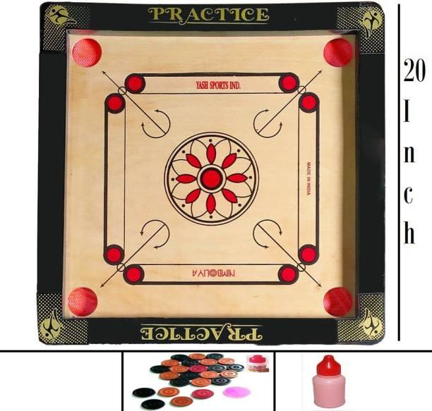 NIMBOLIYA Practice 20 Inch Wood Round Pocket with carrom coin, striker and powder 50 cm Carrom Board