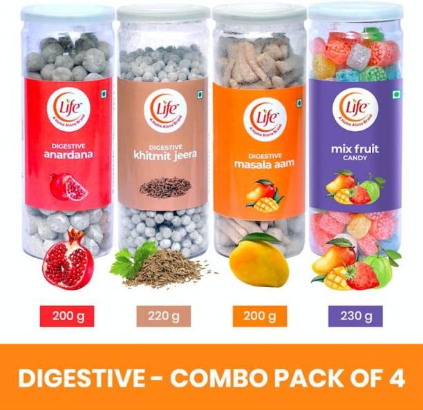 Life Anardana,Khitmit Jeera,Masala Aam And Mix Fruit Digestive Candy Pack of 4 candy cumin, pomegranate, mango, mix fruit Candy