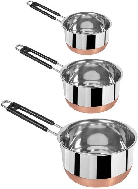 RBGIIT Pack of 3 Stainless Steel, Melamin CP-2 Stainless Steel (22 Guage, Heavy Material) Sauce Pan with Copper Bottom / MILK - TEA PAN 3 pcs COMBO SET Capacity:- 1, 1.5, 2 Liter Sauce Pan 15.5 cm, 17 cm, 18.5 cm diameter (Non-stick) Diner Set Dinner Set