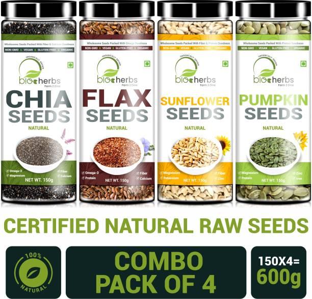 Bioherbs Certified Raw Combo Seeds Value Pack (FLax Seed,Chia Seed, Sunflower seed & Pumpkin Seed)
