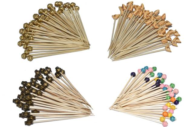 Homeish Bamboo Decorative Cocktail Picks, Fruit Sticks, Snacks Sticks (Pack of 4 Assorted Packs X 50 Sticks of 4 Inches Each) Bamboo Fruit Fork Set