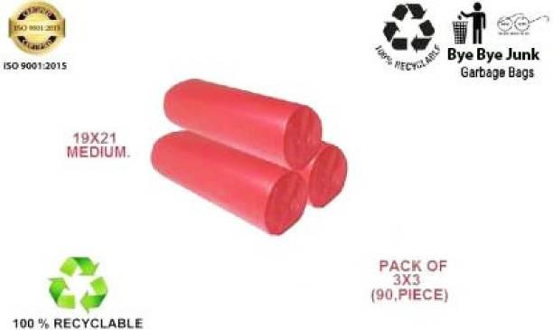 Bye Bye JUNK red 19 x 21 MEDIUM PACK OF 3 ( 90 BAGS ) Medium 14 L Garbage Bag