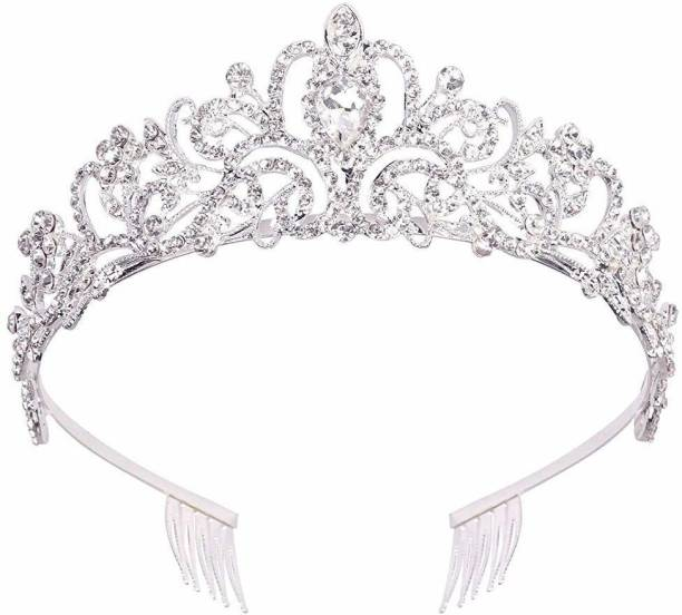 PALAY Silver Crystal Tiara Crown Headband Princess Elegant Crown with combs for Women Girls Bridal Wedding Prom Birthday Party Hair Accessory Set