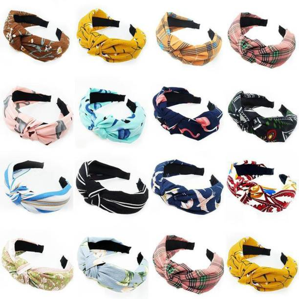 Spangle Fancy girlish knotted hair band for baby girls women and girl stylish korean hiar band (PACK OF 16) multicolor random design Hair Band
