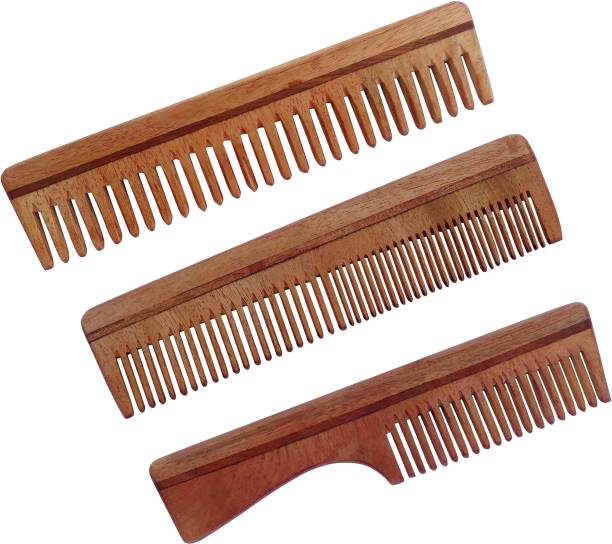 WOODYKRAFT Handmade Natural Pure Healthy Neem Wooden Comb Wide Tooth for Hair Growth, Anti-Dandruff Comb For Women And Men - PACK OF 3