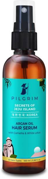 Pilgrim Argan Oil Hair Serum | with White Lotus & Camellia | Korean K-Beauty | For Gloss & Shine, Fights Frizz & Dryness | Gloss Repair Dry-Damaged Hair | Paraben & Mineral Oil Free