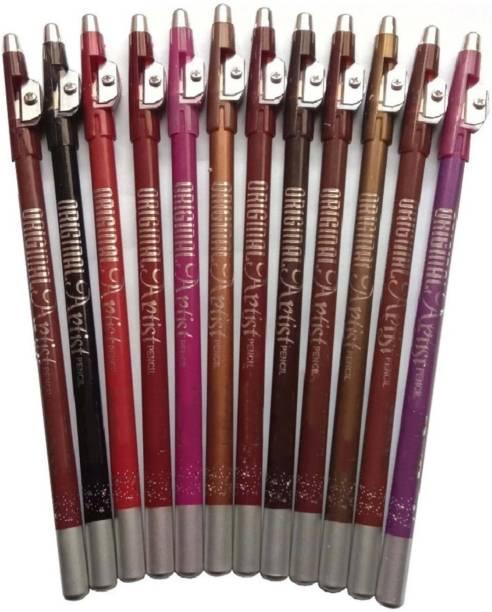 Beauty Jon waterproof lip pencil / liner set of 12 multicolor soft matte.