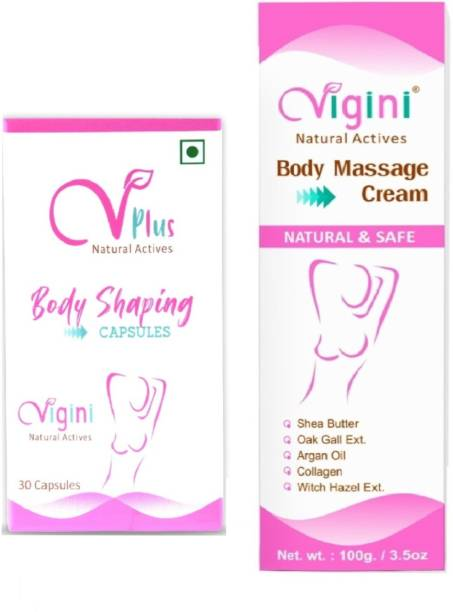 Vigini Plus 100% Natural Actives Bust Breast Body Shaping Capsule With Powerful Safe Herbal Ayurveda Ingredients & Body Toner Massage Gel Cream for Women Women