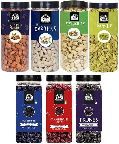 WONDERLAND Healthy Immunity Dryfruits Combo Almond 500g, Cashew 500g, Pista 500g, Raisin 500g, Blueberry 250g, Sliced Cranberry 200g, Prunes 250g - (2700g - Jar) Assorted Nuts