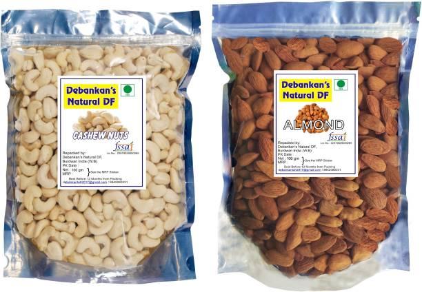 Debankan's Natural DF Premium Almond (100g) and Cashew (100g) dry fruits combo pack Almonds,Cashews Almonds, Cashews
