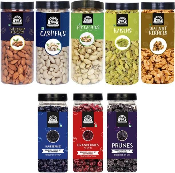 WONDERLAND Healthy Immunity Dryfruits Combo Almond 500g, Cashew 500g, Pista 500g, Raisin 500g, Walnut 350g Blueberry 250g, Sliced Cranberry 200g, Prunes 250g - (3050g - Jar) Assorted Nuts