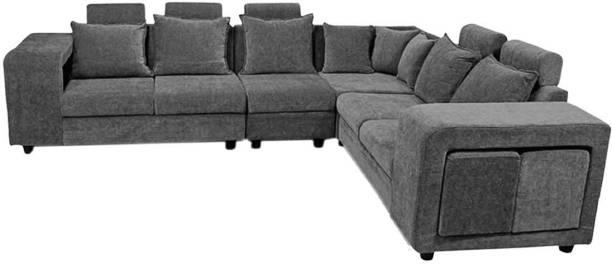Woodcasa Bluester Corner L Shape Fabric 6 Seater  Sofa