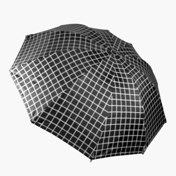 KEKEMI UMB017_03 3 Fold Check Windproof Travel Umbrella