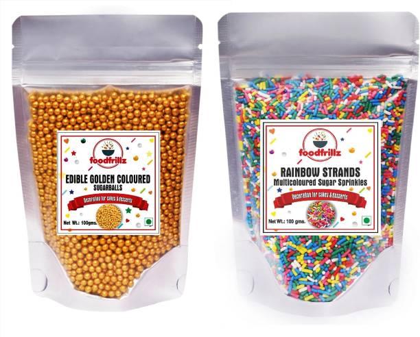 foodfrillz Golden Balls & Rainbow Vermicelli Sprinkles for cake Sprinkles