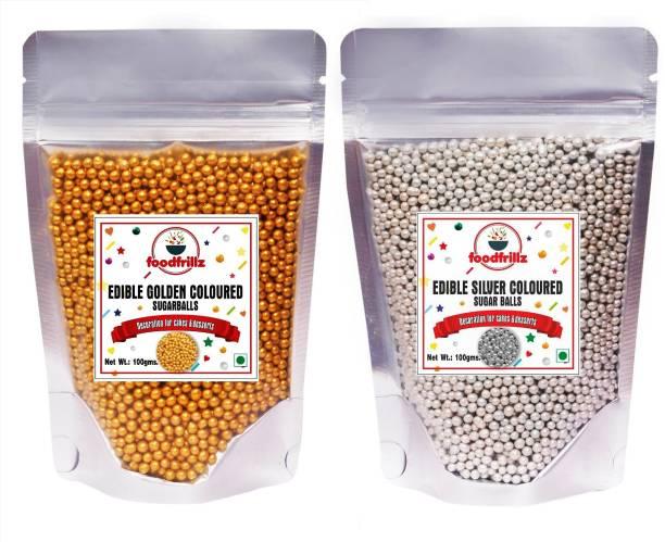foodfrillz Sugar Sprinklers for cakes (Golden+Silver Balls) 200 g Combo Pack Sprinkles