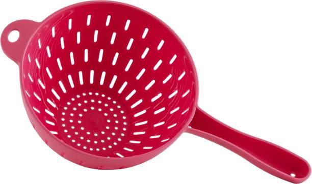 POLYSET Polyset Plastic Rice, Fruits, Vegetable, Noodles, Pasta Washing and Strainer for Storing and Straining Premium Colander Strainer Big – Pink Strainer