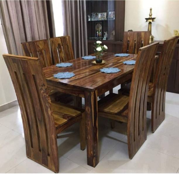 Douceur Furnitures Premium Quality Sheesham Wood Six Seater Dining Table Set With Six Chair Solid Wood 6 Seater Dining Set