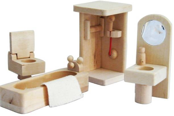 GOLDEN-BRIGHT Wooden Bathroom Set for Furniture Miniature Dollhouse Toy