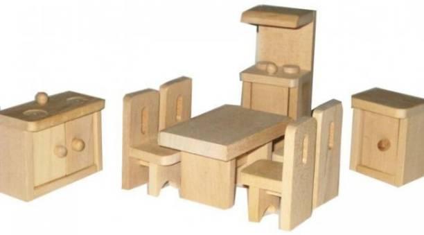 GOLDEN-BRIGHT Wooden Kitchen Set for Furniture Miniature Dollhouse Toy