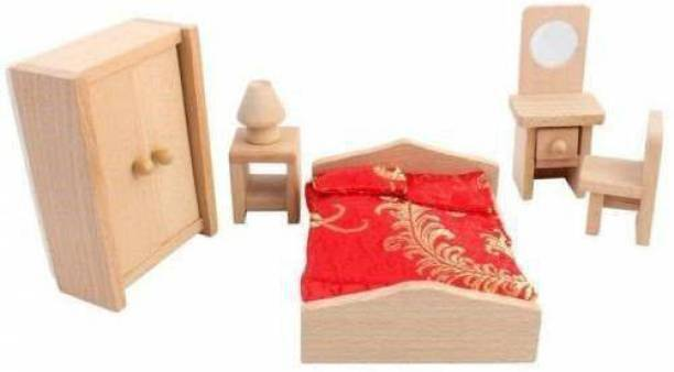 GOLDEN-BRIGHT Wooden Bedroom Furniture Miniature Dollhouse Toy