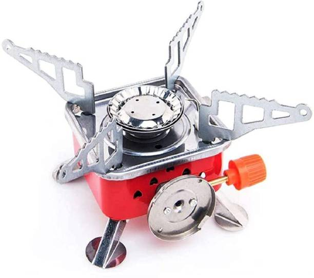 D-Lite Mini Portable Square-Shaped Gas Butane Burner Camping Stove travelling Stainless Steel Cooking Stove Folding Furnace Stove Stainless Steel Manual Gas Stove