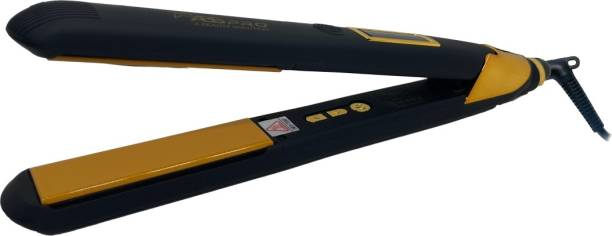 Abs Pro Abs Pro S 4 S 4 Professional Hair Straightener With 4 X Protection Titanium Ceramic Coating Gold Plate Women's Straightening Machine for Hair Saloon 4 X Protection Gold Ceramic Nano Titanium Coating Electric Hair Straightener Corded Electric Hair Styler Hair Straightener (Black, Gold) Hair Straightener