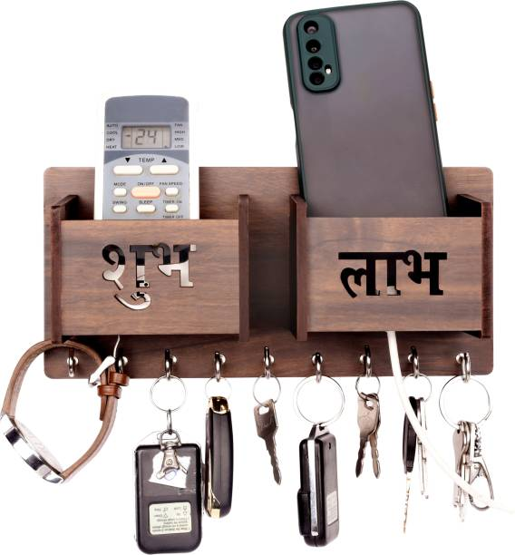 POCKESTER Shubh Labh with Double Mobile Stand Wood Key Holder